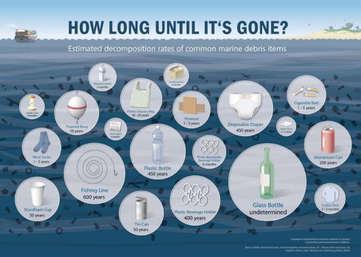 Plastic degradation times